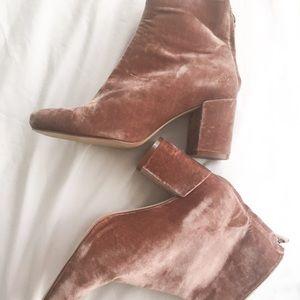 Zara pink velvet boots NWOT